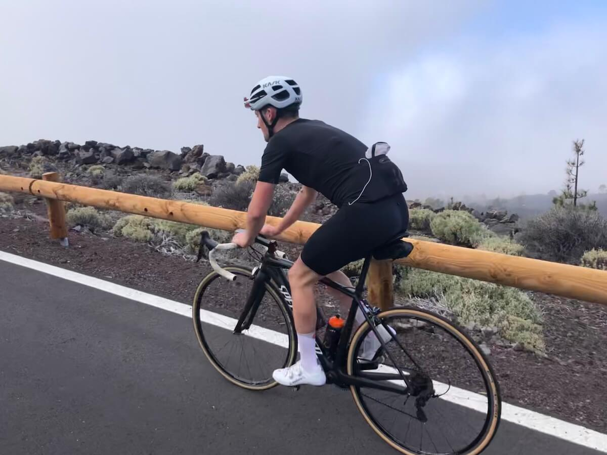 Cyclist riding bicycle on a cycling training camp in tenerife
