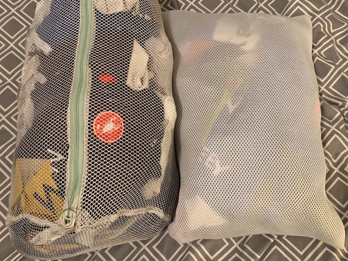 Two net wash bag for washing and packing on a cycling training camp