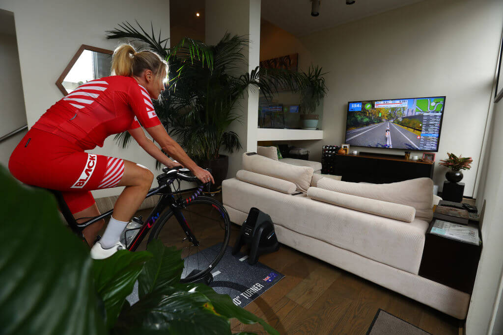 Zwift racing indoors on wahoo smart trainer